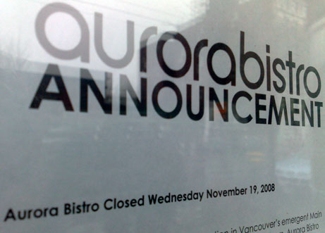 Aurora Bistro Closed
