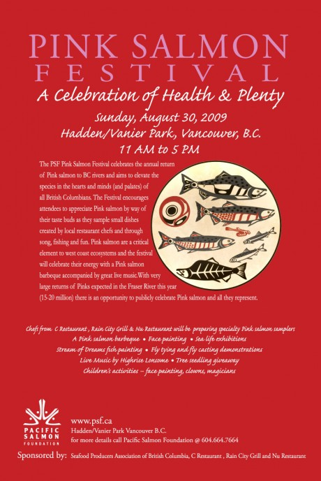 Pink Salmon Festival poster for Aug. 30 at Vanier Park in Vancouver.