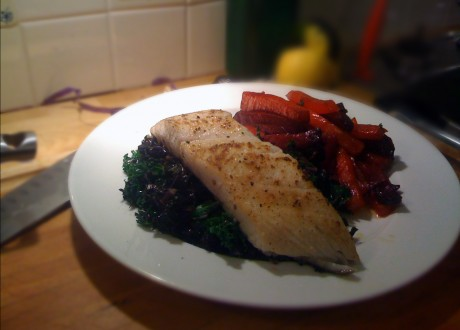 Alaskan Turbot with Kale and Beet Fries.