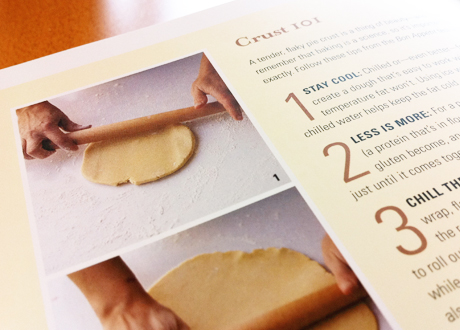 Page 212-213 features step-by-step instructions on making pie crusts