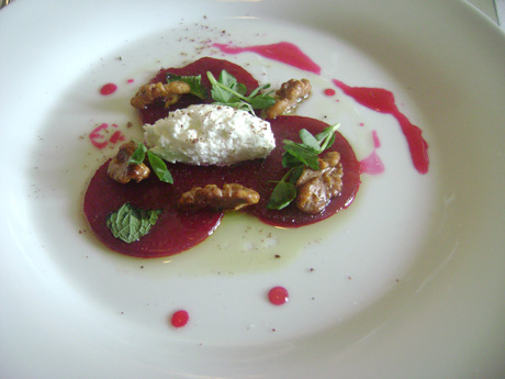 Miradoro's Marinated Beet and Walnut with Mint and house made Ricotta