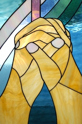 Child Praying Stained Glass