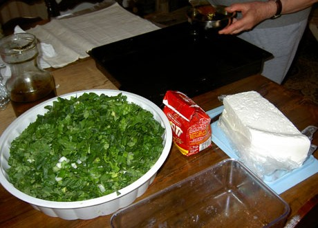 Making of the wild greens pita.
