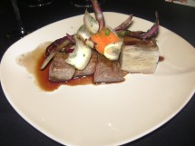 Flat Iron Steak, Potato Pave, Root veg with Huckleberry and Rosemary jus