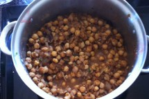Pot of chole, or curried chickpeas