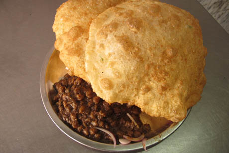 Plate of chole bhature in New Delhi